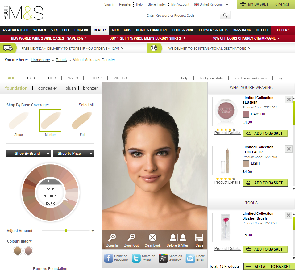 M&S Virtual Makeover Counter